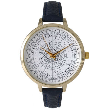 jcpenney.com | Olivia Pratt Womens Navy And Gold Tone Leather Strap Watch 14644