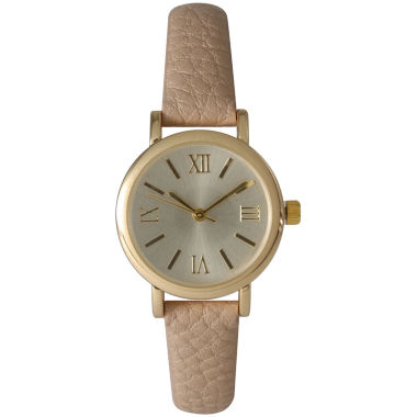 jcpenney.com | Olivia Pratt Womens Tan And Gold Tone Leather Strap Watch 14710