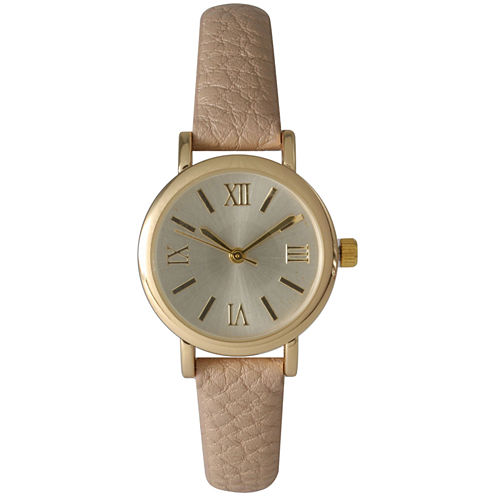 Olivia Pratt Womens Tan And Gold Tone Leather Strap Watch 14710