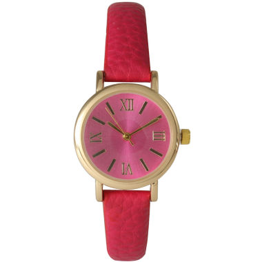 jcpenney.com | Olivia Pratt Womens Hot Pink Gold Tone Leather Strap Watch 14710