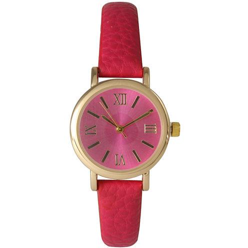 Olivia Pratt Womens Hot Pink Gold Tone Leather Strap Watch 14710