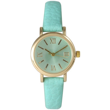 jcpenney.com | Olivia Pratt Womens Mint Gold Tone Leather Strap Watch 14710