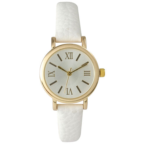 Olivia Pratt Womens White Gold Tone Leather Strap Watch 14710