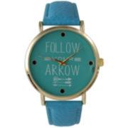 "Olivia Pratt Womens ""Follow Your Arrow"" Gold Tone Blue Leather Strap Watch 14721"