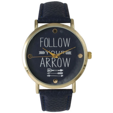 "jcpenney.com | Olivia Pratt Womens ""Follow Your Arrow"" Gold Tone Navy Leather Strap Watch 14721"