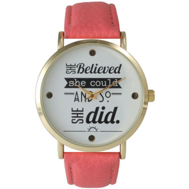 "jcpenney.com | Olivia Pratt Womens ""She Believed She Could"" Gold Tone Coral Leather Strap Watch 14722"