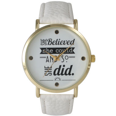 "jcpenney.com | Olivia Pratt Womens ""She Believed She Could"" Gold Tone White Leather Strap Watch 14722"