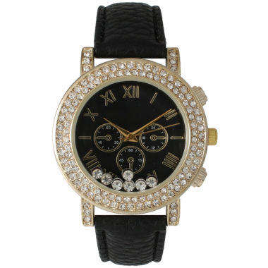 jcpenney.com | Olivia Pratt Womens Black Crystal Accent Leather Strap Watch 14798