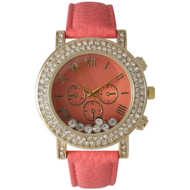 jcpenney.com | Olivia Pratt Womens Coral Gold Tone Crystal Accent Leather Strap Watch 14798