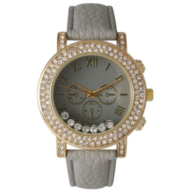 jcpenney.com | Olivia Pratt Womens Gray Crystal Accent Leather Strap Watch 14798