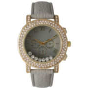 Olivia Pratt Womens Gray Crystal Accent Leather Strap Watch 14798