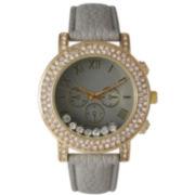 Olivia Pratt Womens Gray Crystal Accent Leather Strap Watch 14798