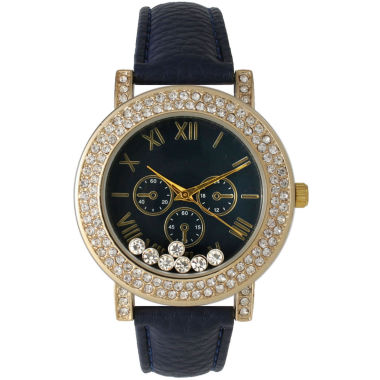 jcpenney.com | Olivia Pratt Womens Navy Crystal Accent Leather Strap Watch 14798