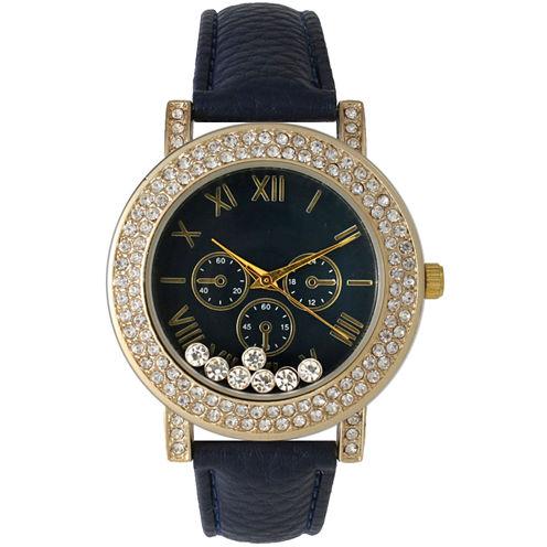 Olivia Pratt Womens Navy Crystal Accent Leather Strap Watch 14798