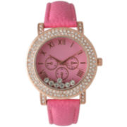 Olivia Pratt Womens Pink Rose Gold Tone Crystal Accent Leather Strap Watch 14798