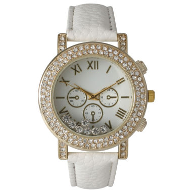 jcpenney.com | Olivia Pratt Womens White Crystal Accent Leather Strap Watch 14798