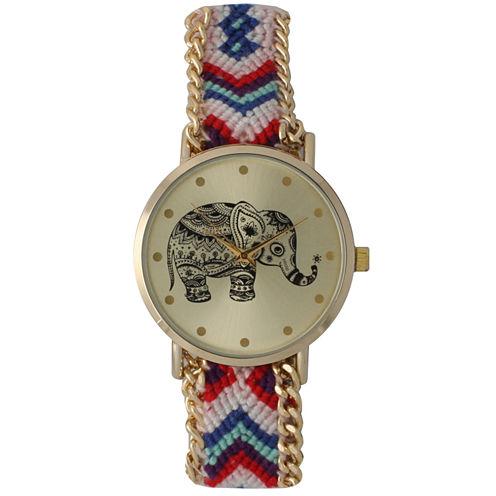 Olivia Pratt Womens Pink Braided Elephant Print Dial Strap Watch 14811