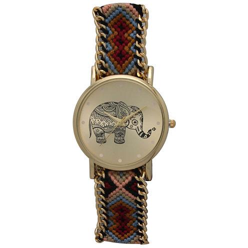 Olivia Pratt Womens Maroon Braided Elephant Print Dial Strap Watch 14811