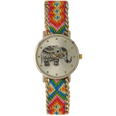 jcpenney.com | Olivia Pratt Womens Orange Braided Elephant Print Dial Strap Watch 14811