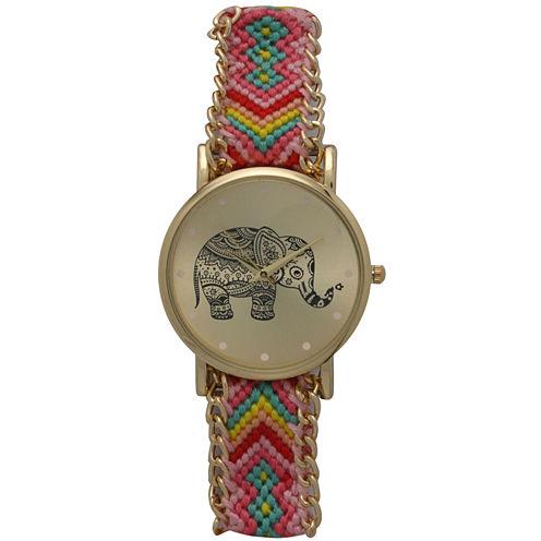 Olivia Pratt Womens Yellow Braided Elephant Print Dial Strap Watch 14811