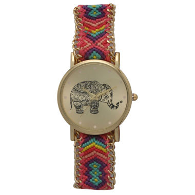 jcpenney.com | Olivia Pratt Womens Pink And Purple Braided Elephant Print Dial Strap Watch 14811