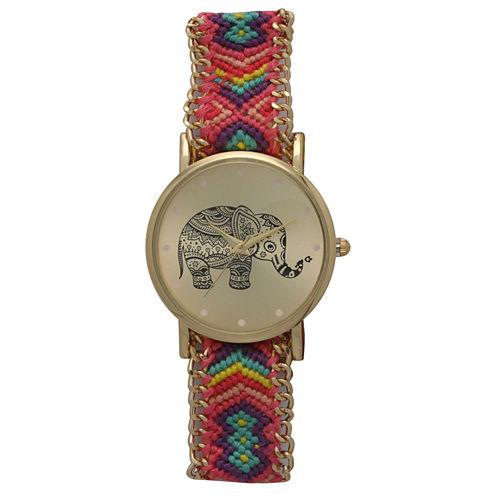 Olivia Pratt Womens Pink And Purple Braided Elephant Print Dial Strap Watch 14811