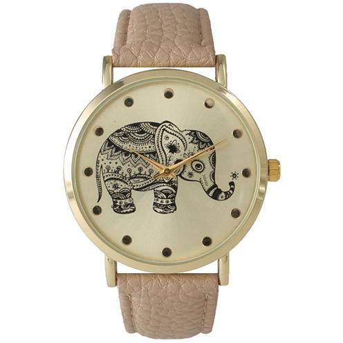 Olivia Pratt Tan And Gold Tone Elephant Print Dial Leather Strap Watch 14813