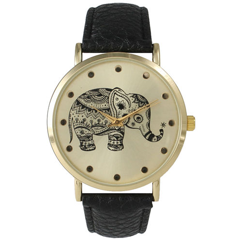 Olivia Pratt Womens Black And Gold Tone Elephant Print Dial Leather Strap Watch 14813
