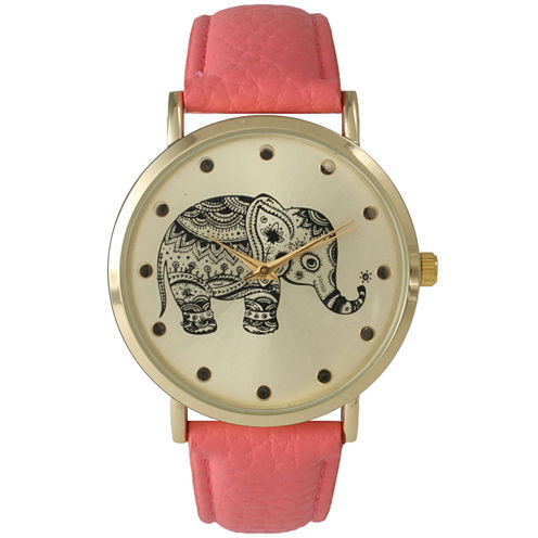 Olivia Pratt Womens Coral And Gold Tone Elephant Print Dial Leather Strap Watch 14814