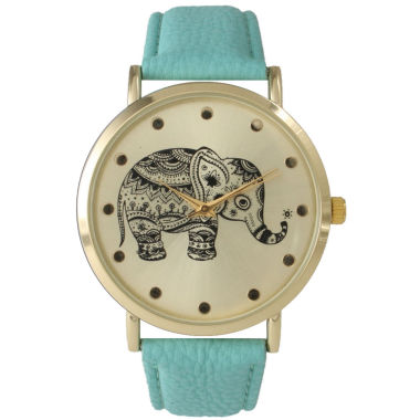 jcpenney.com | Olivia Pratt Womens Mint And Gold Tone Elephant Print Dial Leather Strap Watch 14813
