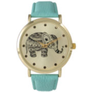Olivia Pratt Womens Mint And Gold Tone Elephant Print Dial Leather Strap Watch 14813