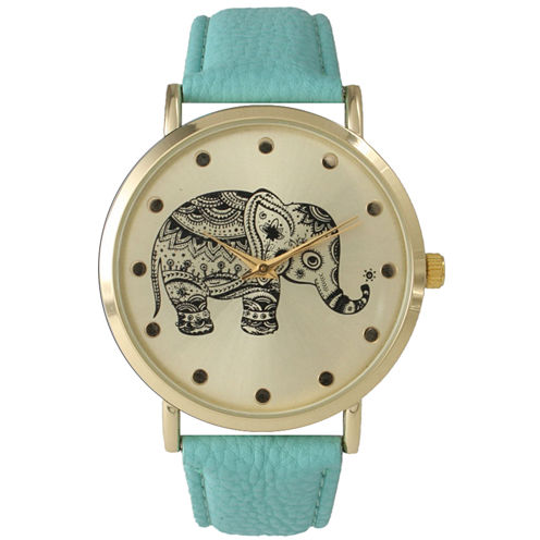 Olivia Pratt Womens Mint And Gold Tone Elephant Print Dial Leather Strap Watch 14813