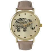 Olivia Pratt Womens Taupe Elephant Print Dial Leather Strap Watch 14813