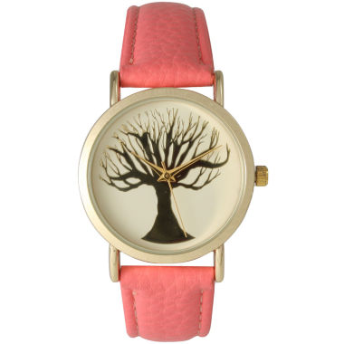 jcpenney.com | Olivia Pratt Womens Coral Tree Emblem Leather Strap Watch
