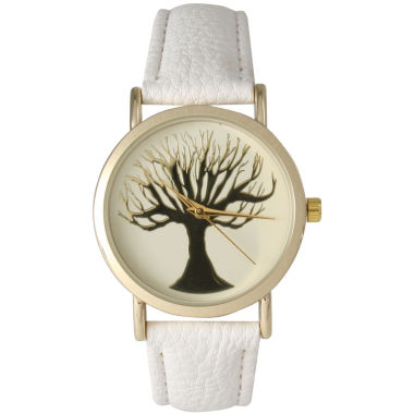 jcpenney.com | Olivia Pratt Womens White Tree Emblem Leather Strap Watch