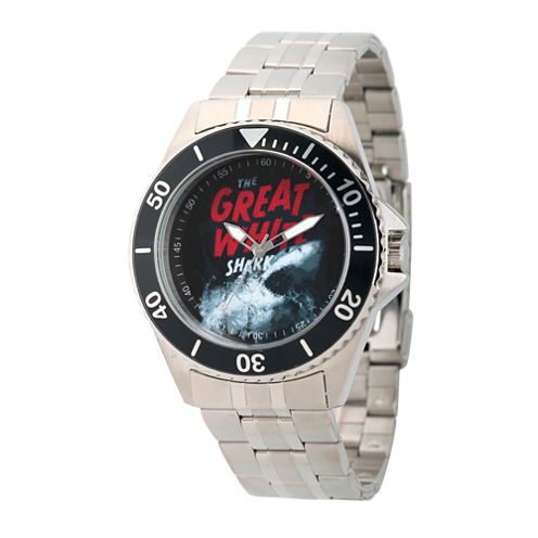 Discovery Expedition Mens Silver-Tone Shark Bracelet Watch