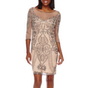 Prelude 3/4-Sleeve Beaded Shift Dress