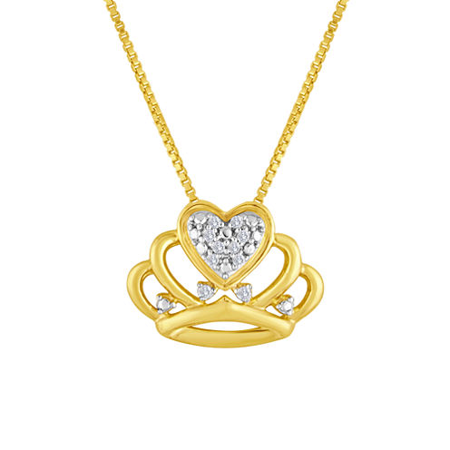 Diamond-Accent 10K Yellow Gold Crown Necklace