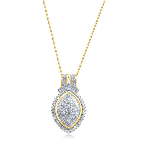 1/2 CT. T.W. Diamond In 10K Yellow Gold Pendant Necklace