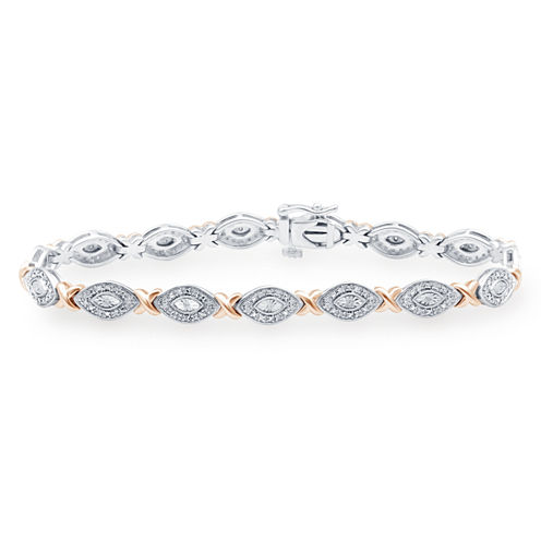 1/4 CT. T.W. Diamond Sterling Silver With 14K Rose Gold Over Silver Accent Bracelet