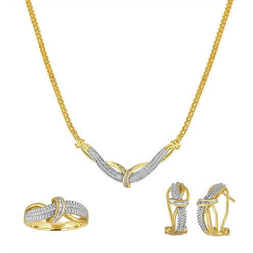 1/5 CT. T.W.  Diamond 14K Yellow Gold Over Brass 3-pc. Box Set