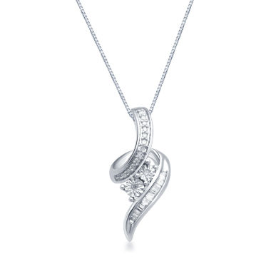 jcpenney.com | 1/10 CT. T.W. Diamond 2-Stone Sterling Silver Pendant Necklace