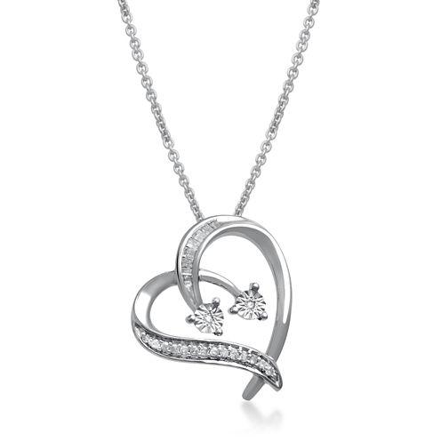 1/10 CT. T.W. Diamond Sterling Silver Heart Pendant Necklace