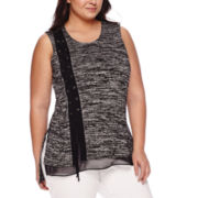 Worthington® Sleeveless Lace-Up Layered Top - Plus