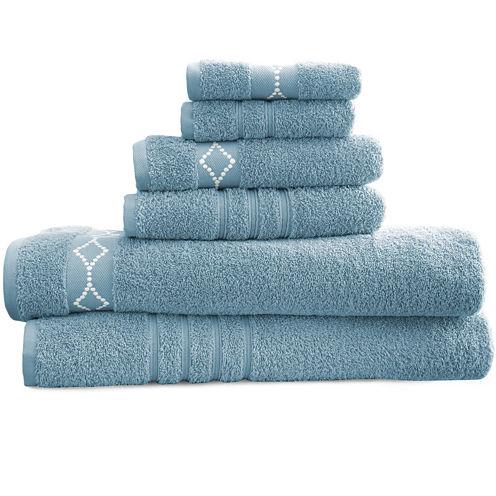 Diamond Embroidered Egyptian Cotton 6-pc. Towel Set