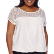 St. John's Bay® Short-Sleeve Lace Banded Top - Plus