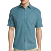Claiborne® Short-Sleeve Woven Button-Front Shirt