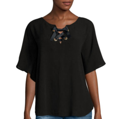 jcpenney.com | i jeans by Buffalo Short-Sleeve Lace-Up Blouse