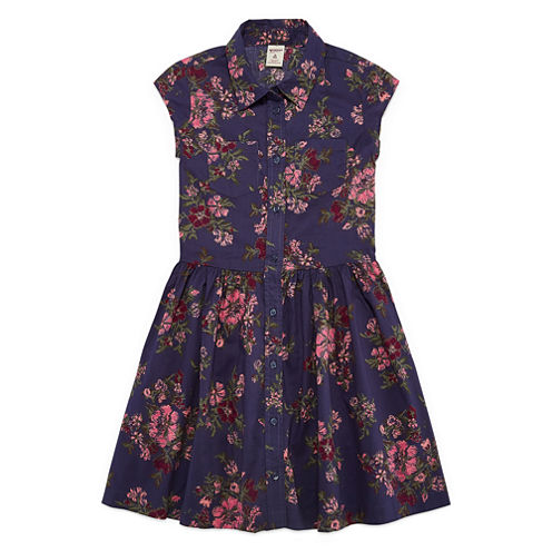 Arizona Navy Floral Cap Sleeve Shirt Dress - Girls' 7-16