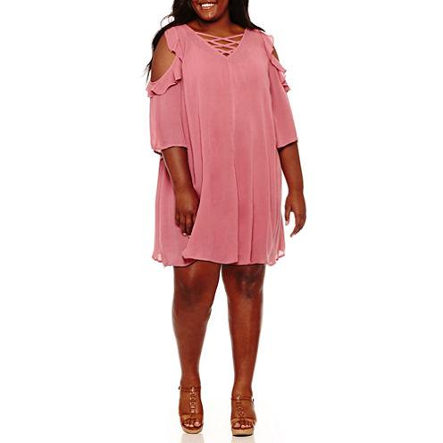 Arizona Short Sleeve Trapeze Dress-Juniors Plus